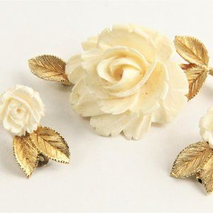 Jewelry - LEDO & POLCINI VINTAGE FLOWER SET BROOCH EARRINGS